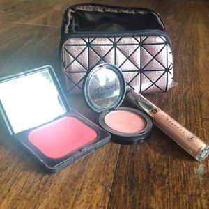 Other - Blush and lipstick with beauty bag